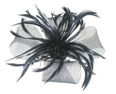 New black Ladies mesh feather clip fascinator with biot feathers , weddings