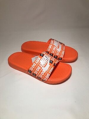 143ce7350fa3 NIKE BENASSI JDI Just Do It Print Slides Total Orange White Black ...