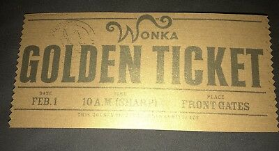 Willy Wonka Golden Ticket Paper Charlie & The Chocolate Factory EASTER