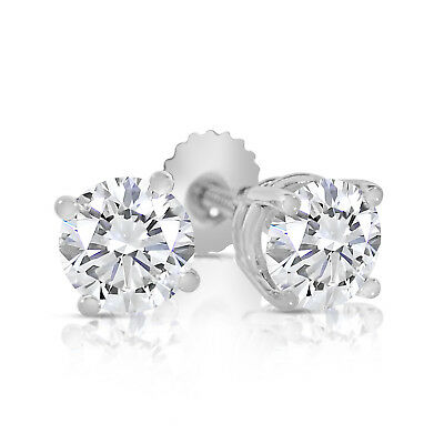 3/4ct tw Round Diamond Stud Earrings with Screw Backs in 14k White Gold