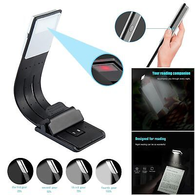 Magnetic USB Rechargeable LED Book Light Flexible Clip On Night Reading Lamp USA