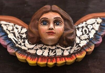 """Carved Wood Angel With Charms Mexican Milagros 14""""W Hanging Winged Cherub"""