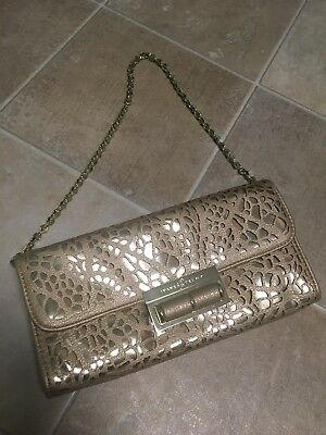 40c338348347 Ivanka Trump Purse Bag Envelope Clutch Metallic Gold Chain Vegan Career  Evening