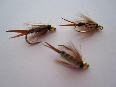 NYMPHS 1 DZ D16-1 BEAD HEAD FLASHBACK PHEASANT TAIL OLIVE SIZES