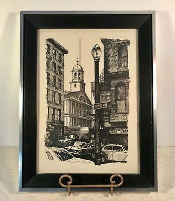 R.E. Kennedy FANEUIL HALL BOSTON 1967 Pen & Ink Print Framed