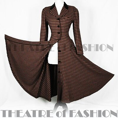 COAT DRESS JACKET VINTAGE 40s 50s VAMP TARTAN RIDING VICTORIAN DIVA FEMME FATALE