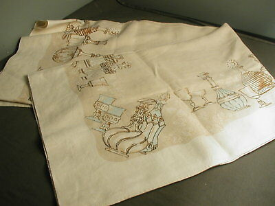 VINTAGE LINEN TABLECLOTH - BROWN & TURQUOISE - DESIGN TABLEWARE - 50X66 - t 36