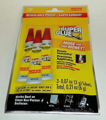 The Original SUPER GLUE 3 (2g) Tubes Resealable Package