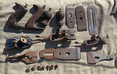 vintage assorted wood plane parts frogs-blades-totes-knobs