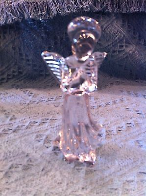 """Nos 1992 Avon 24% Full Lead 5 3/4"""" Crystal Angel Candle Holder"""