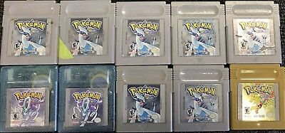 Huge Lot Of Pokemon Game Boy Games Gold Silver Crystal Need New Batteries Repair
