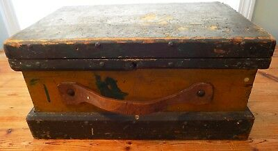 ANTIQUE Country PRIMITIVE Painted TOOLBOX  Covered Blue-Green and Mustard Yellow