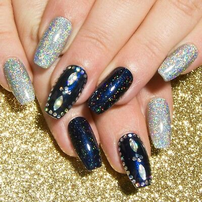 Coffin Glitter Nail Art Press On Gel Acrylic Fake False Faux Glue Stick On Nails