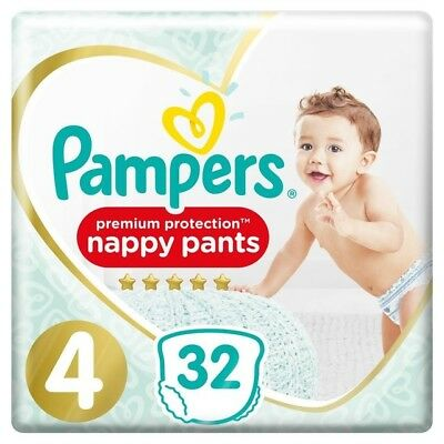 Pampers Premium Protection Baby Dry Nappy Nappies Size 4   9-15kg   32 nappies