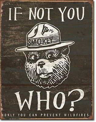 Smokey the Bear Only You Forest Fires Metal Sign Tin New Vintage Style USA #834