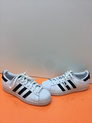 90565cc9a313 Adidas SUPERSTAR White Leather Lace Up Shell Toe Low Top Shoes Men s Size 9