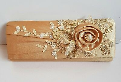 Mother of the bride clutch bag,gold satin,hand decorated,embroidery,bespoke.