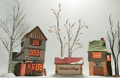 Department 56 Dickens Village Buildings With Winter Birch & Lemax Sycamore Trees