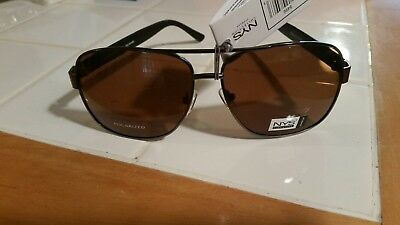 482ec39bc2 NYS Signature Collection Series Polarized Aviator Sunglasses New  Grey-Brown-8496