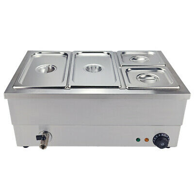4 Pots Bain Marie Catering Wet Well Wet Heat 2x1/3+2x1/6 Electric Food Warmer