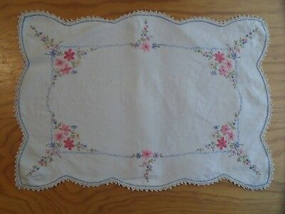 Vintage Embroidered Cotton Doily Large Rectangle Pink Flowers