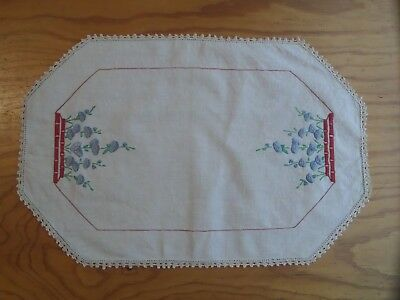 Vintage Embroidered Cotton Doily Large rectangle blue flowers