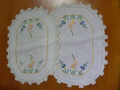 Vintage Embriodered Cotton Doilies 2 small rectangle blue & salmon flowers