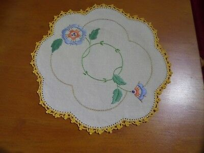 Vintage Embroideried Cotton Doily Small Round multi coloured flowers