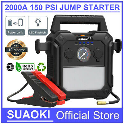 Car Jump Starter Battery Charger 60Wh 2000A Booster Power Bank 10L Gas 8L Diesel