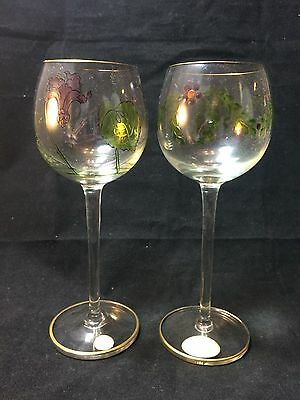 Antique Theresienthal Art Nouveau Painted/Enameled Tall Wine Glass Set of 2