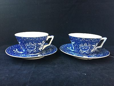 Antique porcelain 2 Chinese cups and saucers. Marked 6 characters