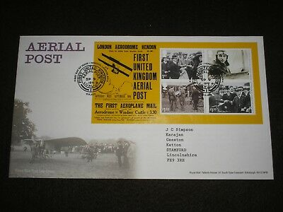 2011 GB Stamps AERIAL POST Mini Sheet First Day Cover HENDON LONDON Cancel FDC