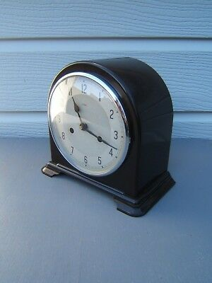 Enfield Bakelite dome top mantel clock working key pen cleaned polished    B4