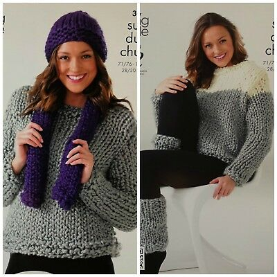 780ca33537e22 KNITTING PATTERN Ladies Easy Knit Jumper Hat Scarf Mega Chunky King Cole  3621