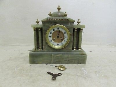 Antique French Couaillet Freres Green Onyx Mantel Clock