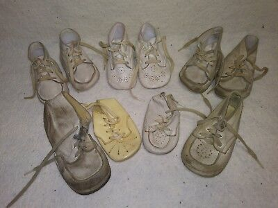 3 Pair Vintage old Baby Shoes - White Walkers  - Decor/Doll/Crafts + 4 Misc..