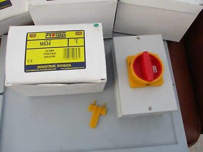 Proteus M634 63A 4 Pole Rotary Electrical Isolator Switch Ip65 Weather Proof