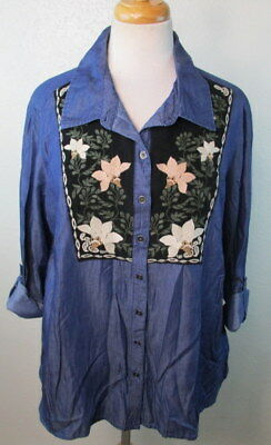 2085fccd Style & Co Womens Large Button Down DENIM SHIRT WESTERN EMBROIDERED FLORAL  NEW