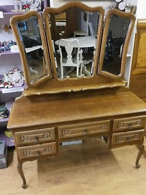 Antique French Oak Dressing Table with Triple Mirror and Drawers Storage