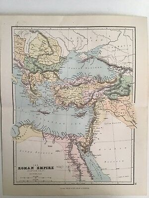 The Roman Empire, Eastern, W. Hu, 1881 Antique Map, Philips, Atlas, Original