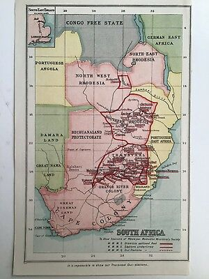 South Africa, Stations Of The Wesleyan Missionary Society Antique Map c1900 Rare