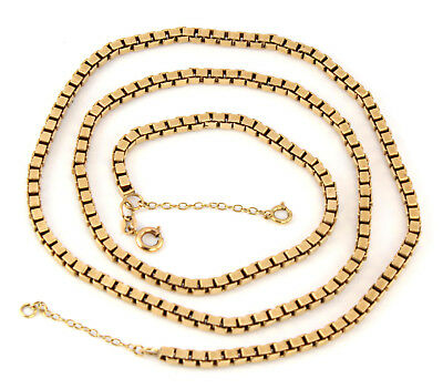 Vintage Heavy Solid 9Ct Gold Box Link Chain Necklace 23 1/2'', 35.8g