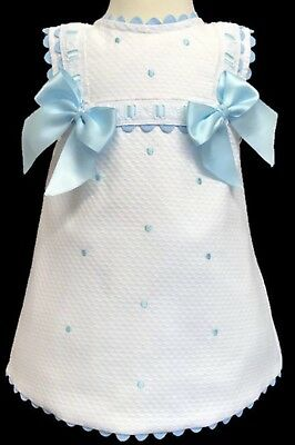 Girls Wee ME SPANISH ROMANY WHITE DRESS WITH BLUE BOWS