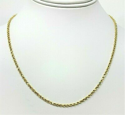 "10K Solid Yellow Gold Necklace Gold Rope Chain 16"" 18"" 20"" 22"" 24"" 26"" 28"" 30"""