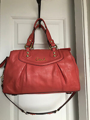 COACH ASHLEY LEATHER Coral ORANGE CONVERTIBLE SATCHEL Shoulder BAG F19247  EUC e3e68b8a48