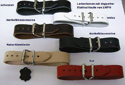 Leather Straps 4,0 cm Extra Wide with Double Metal Loop Fixing Strap