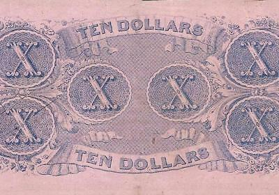 1862 $10 Dollar Bill Confederate States Currency Civil War Note Paper Money T-52