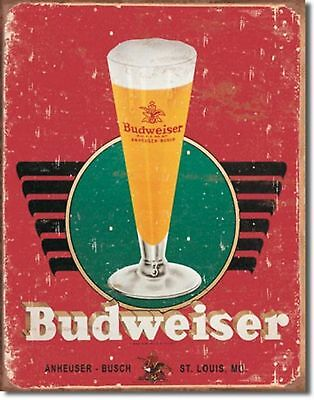 Budweiser Beer Art Deco Retro Logo  Metal Sign Tin New Vintage Style #1483