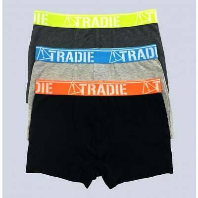 Boys Tradie 3 Pack Cotton Fitted Boxer Shorts Trunks Schoolies (SK3)