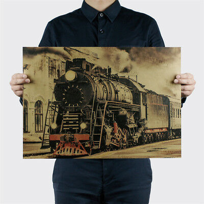 Vintage Steam Train Nostalgic Vintage Kraft Paper Poster Decoration Wall Stic Fq
